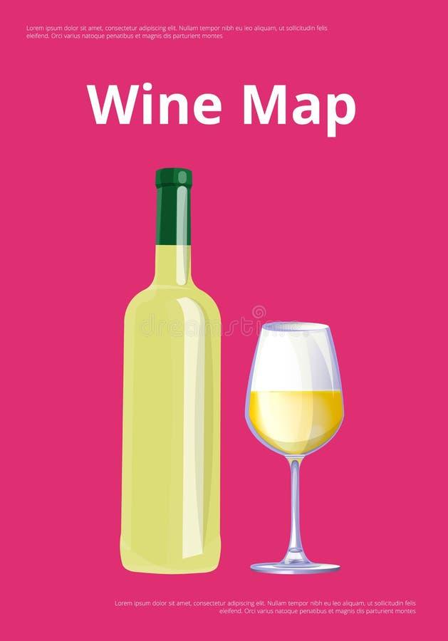 Manifesto della mappa del vino con la bottiglia ed il vetro di vino bianco royalty illustrazione gratis