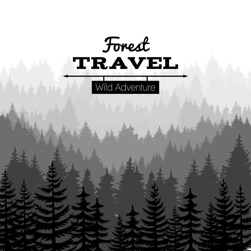 Manifesto della natura di schizzo del legname con le montagne Fondo della siluetta della foresta del pino di vettore royalty illustrazione gratis