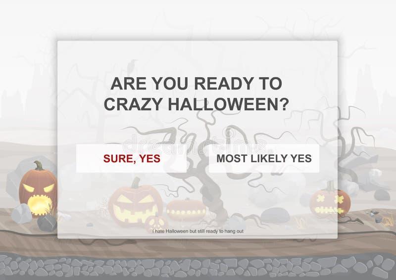 Manifesto della pagina di atterraggio del partito di Halloween con le zucche spaventose dell'inferno nella vecchia illustrazione  illustrazione vettoriale