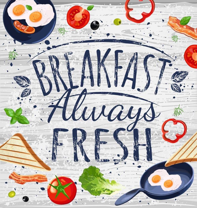 Manifesto della prima colazione immagine stock