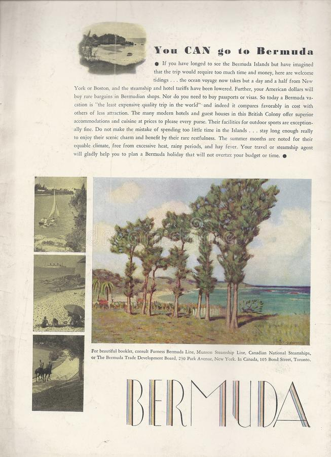 Manifesto 1933 della pubblicità di vacanza delle Bermude retro fotografie stock libere da diritti