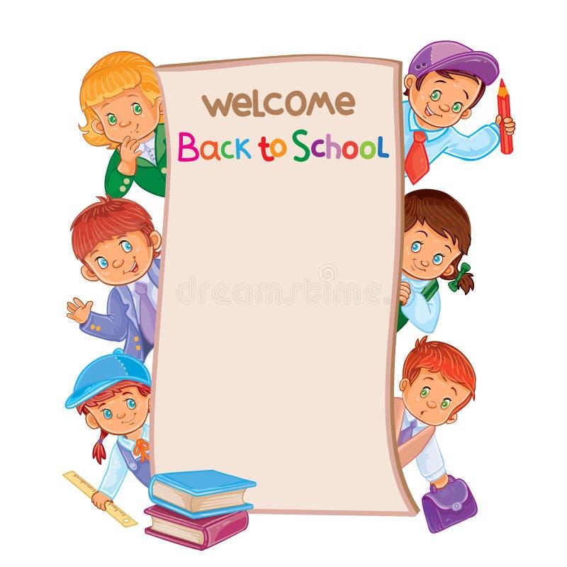Manifesto della scuola con i bambini piccoli in abbigliamento di carnevale illustrazione di stock