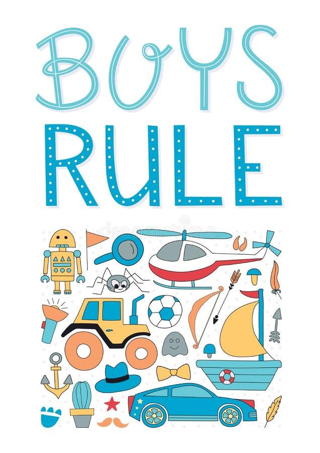 Manifesto della scuola materna di regola dei ragazzi illustrazione vettoriale