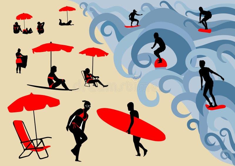 Manifesto della spuma con il surfista in grande onda illustrazione di stock