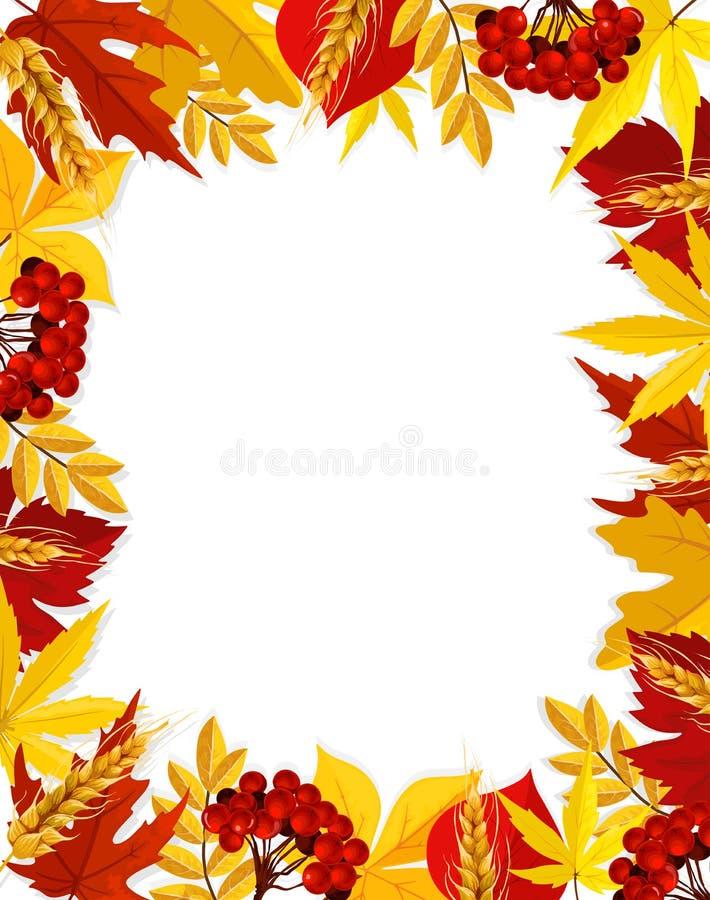 Manifesto della struttura di caduta dello spazio in bianco del fogliame della foglia di vettore di autunno illustrazione di stock