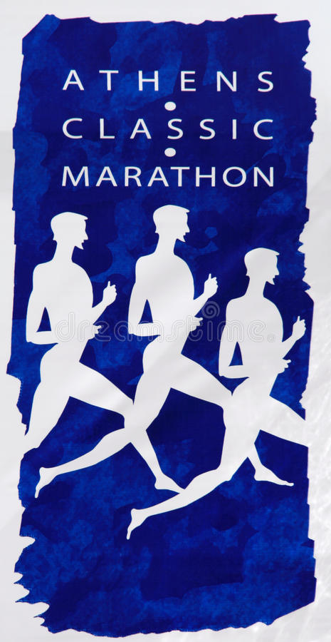 Manifesto della ventisettesima maratona del classico di Atene immagini stock