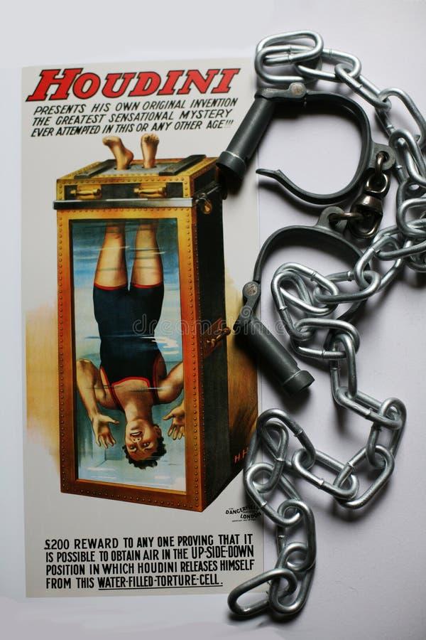 Manifesto delle cellule di tortura di Houdini con le manette e le catene immagini stock