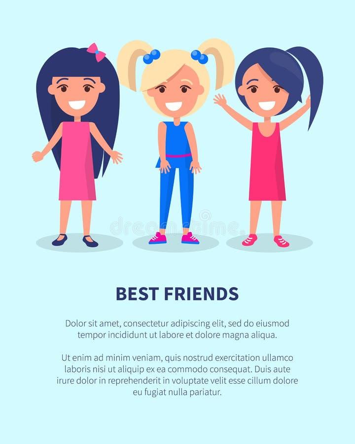 Manifesto delle ragazze dei migliori amici tre delle femmine attive royalty illustrazione gratis