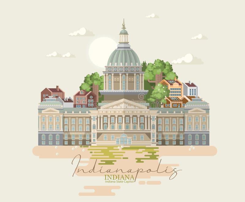 Manifesto dello stato dell'Indiana Gli Stati Uniti d'America Cartolina da Indianapolis Vettore di viaggio illustrazione di stock