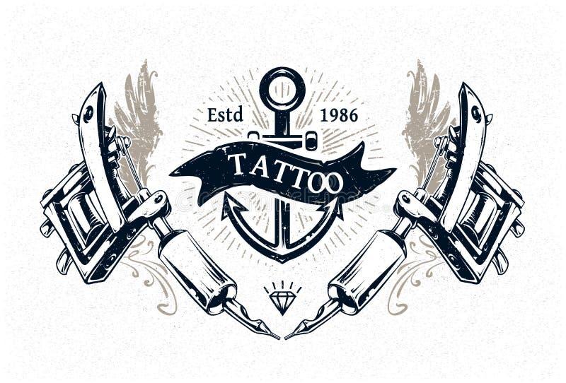 Manifesto dello studio del tatuaggio illustrazione vettoriale