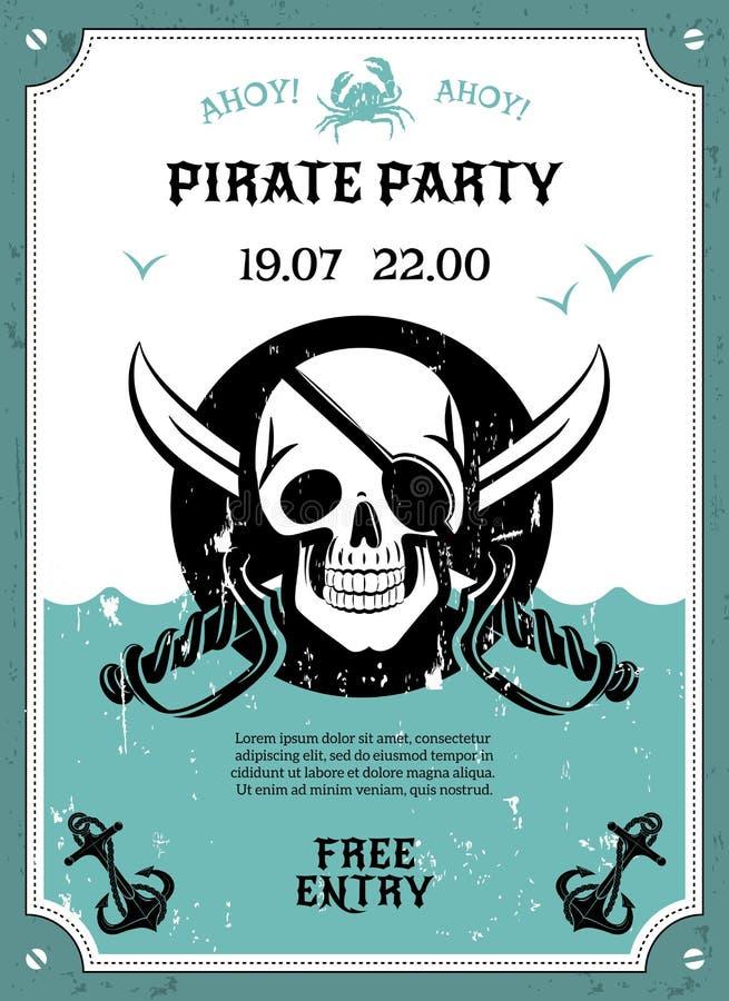 Manifesto di annuncio del partito del pirata con il cranio royalty illustrazione gratis