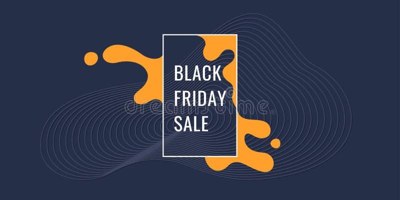Manifesto di Black Friday Forme organiche con le onde dinamiche e linee su un fondo scuro Vettore illustrazione vettoriale