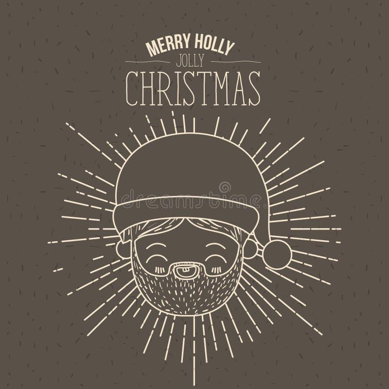 Manifesto di Brown con le scintille ed il fronte sveglio il Babbo Natale della siluetta ed il natale allegro dell'agrifoglio alle illustrazione di stock
