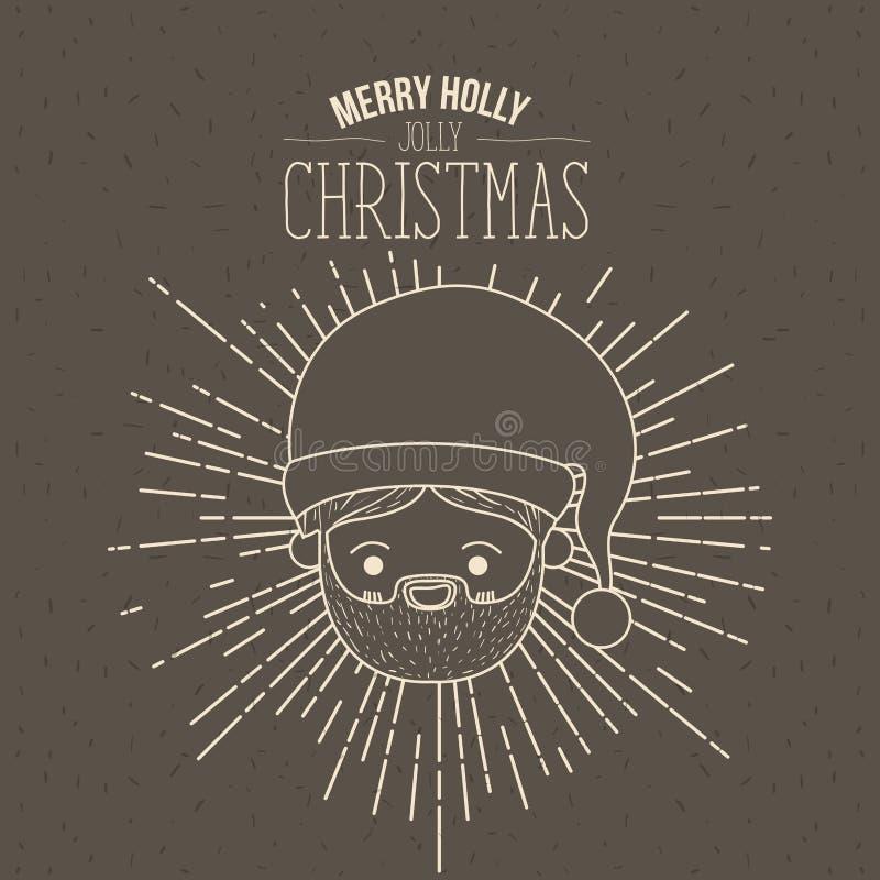 Manifesto di Brown con le scintille ed il fronte sveglio il Babbo Natale della siluetta con l'espressione di sorriso ed il natale illustrazione di stock