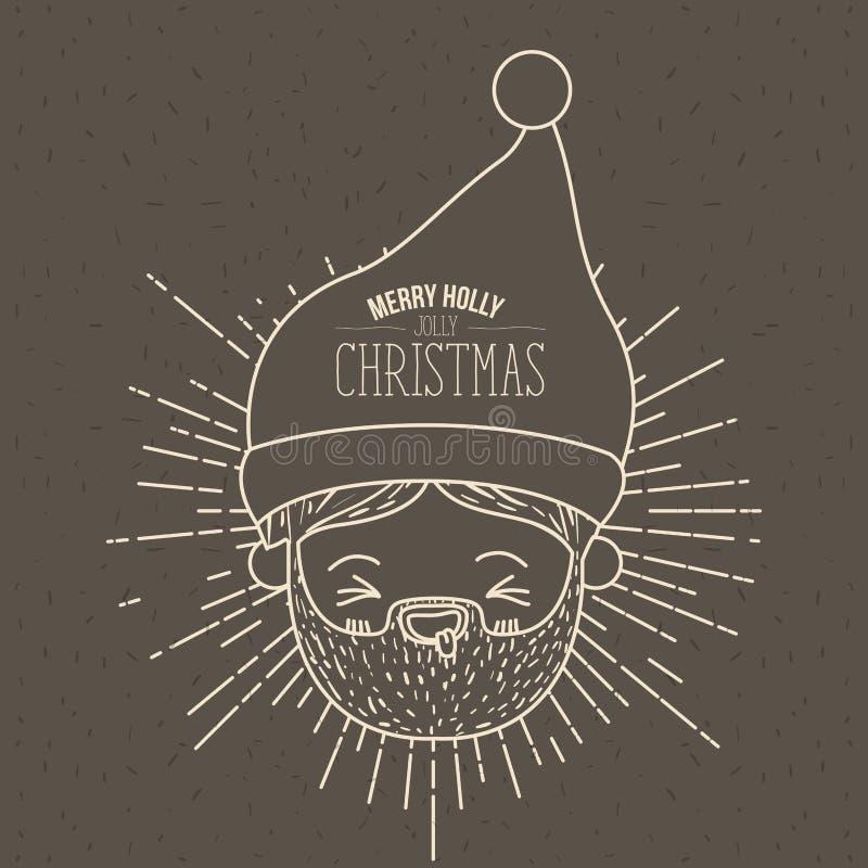 Manifesto di Brown con le scintille ed il fronte sveglio il Babbo Natale della siluetta con la lingua fuori ed il natale allegro  royalty illustrazione gratis
