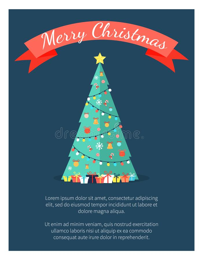 Manifesto di Buon Natale con l'albero decorato dalle ghirlande royalty illustrazione gratis
