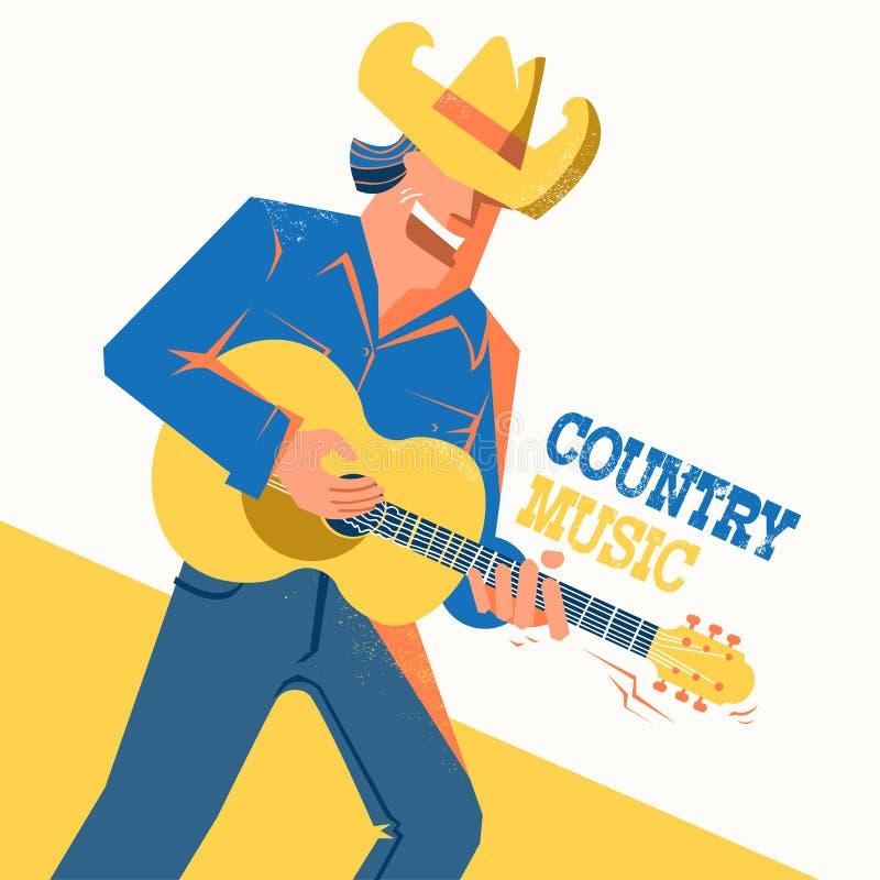 Manifesto di concerto di musica country con l'uomo del cantante in cappello da cowboy illustrazione di stock