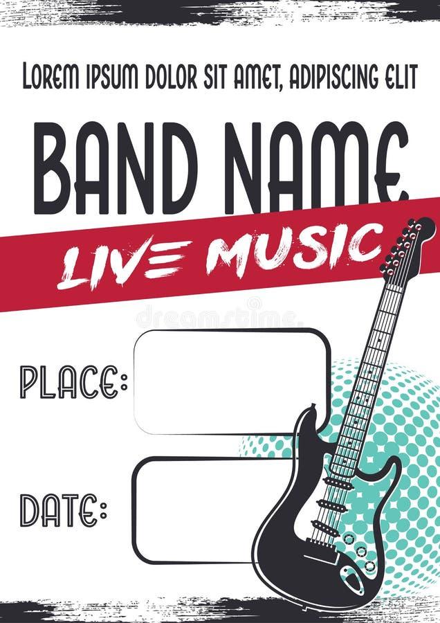 Manifesto di concerto di musica rock con la chitarra elettrica royalty illustrazione gratis