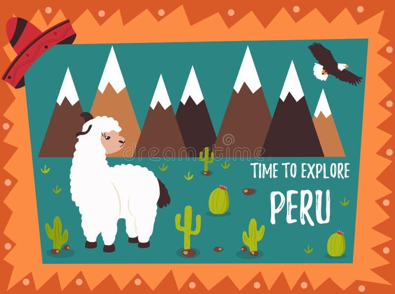 Manifesto di concetto del Perù con le destinazioni sveglie del turista e della lama royalty illustrazione gratis