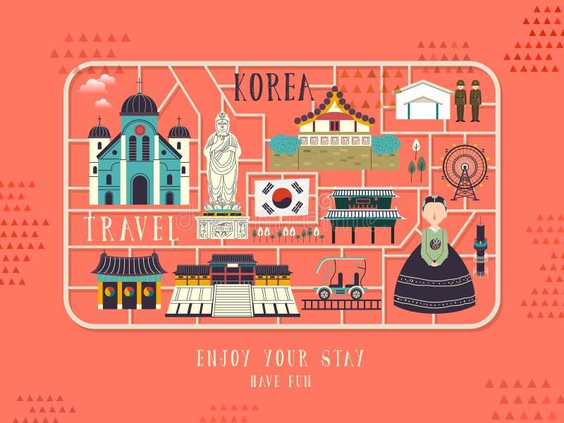 Manifesto di concetto di viaggio della Corea del Sud illustrazione di stock