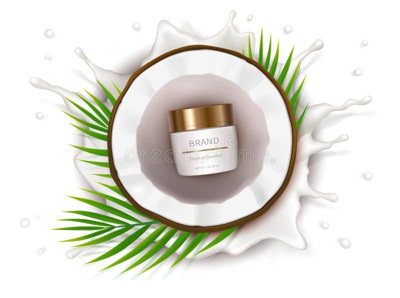 Manifesto di concetto per crema naturale organica illustrazione vettoriale