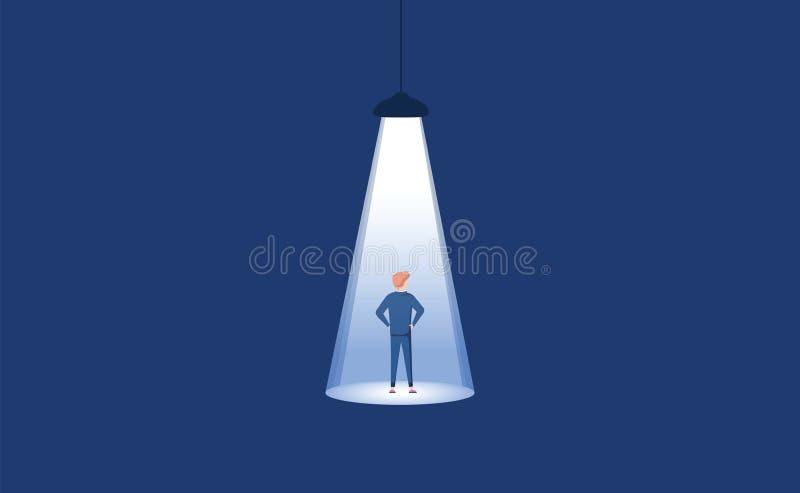 Manifesto di concetto di vettore di noleggio e di assunzione con la siluetta dell'uomo d'affari in riflettore Stile artistico min royalty illustrazione gratis