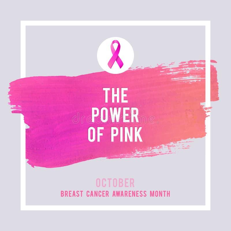 Manifesto di consapevolezza del cancro al seno Cancro rosa creativo di simbolo del nastro del colpo e della seta della spazzola illustrazione vettoriale