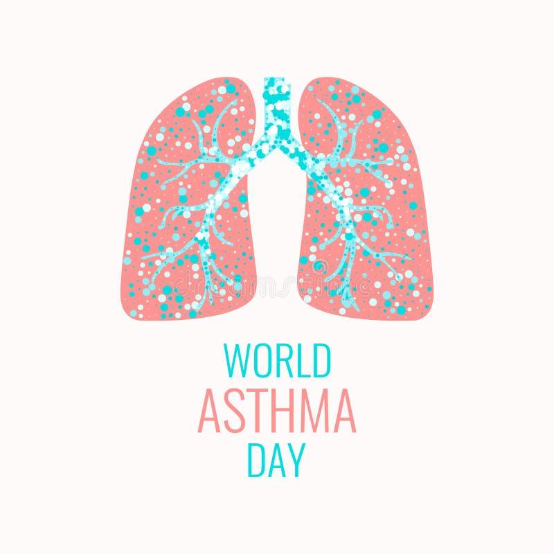 Manifesto di consapevolezza di asma illustrazione di stock