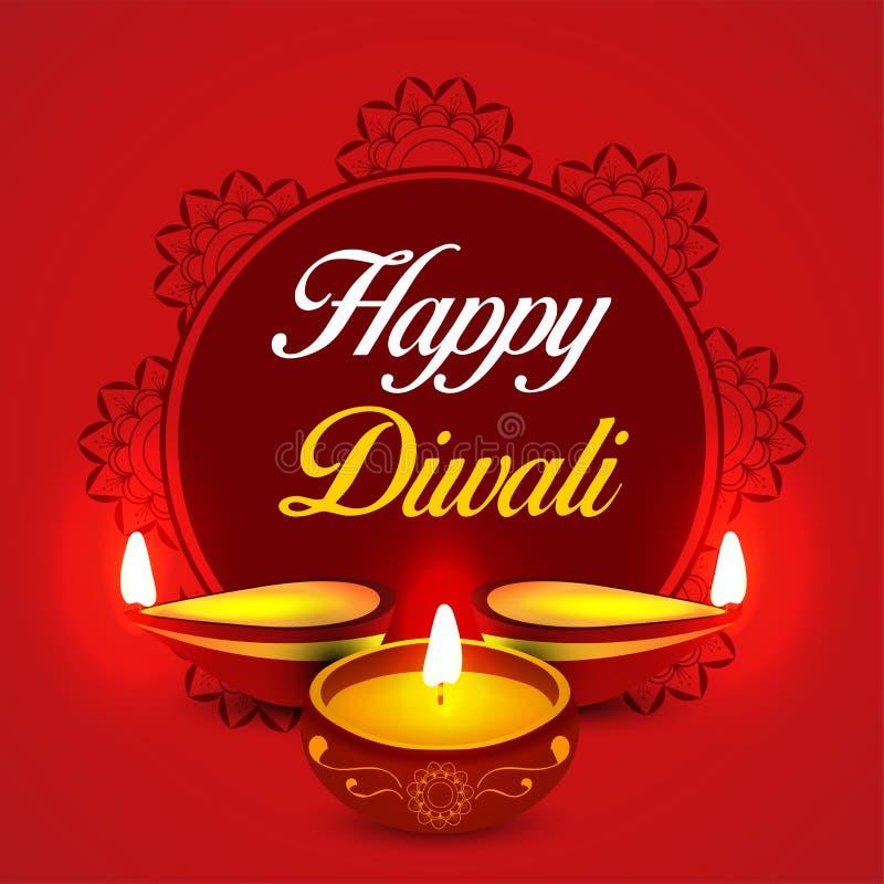 Manifesto di Diwali, intestazione, insegna o progettazione felice della cartolina d'auguri illustrazione di stock