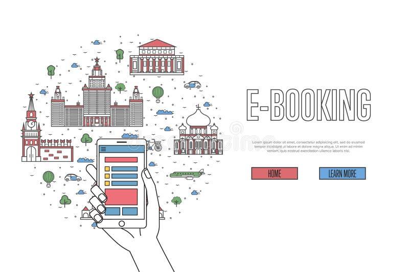 manifesto di E-prenotazione nello stile lineare royalty illustrazione gratis