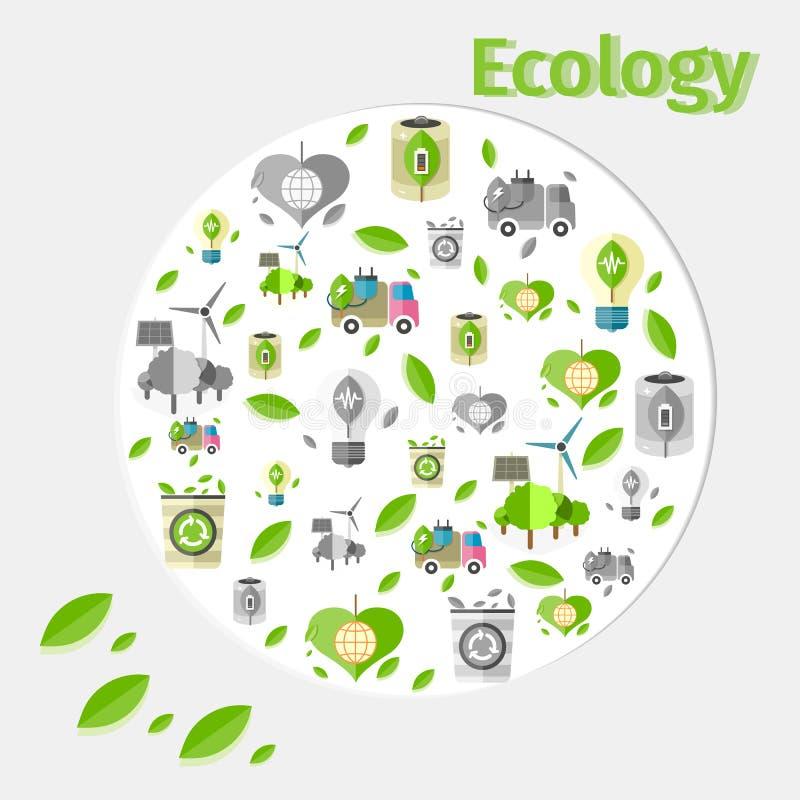 Manifesto di ecologia con piccolo verde e Grey Icons illustrazione vettoriale