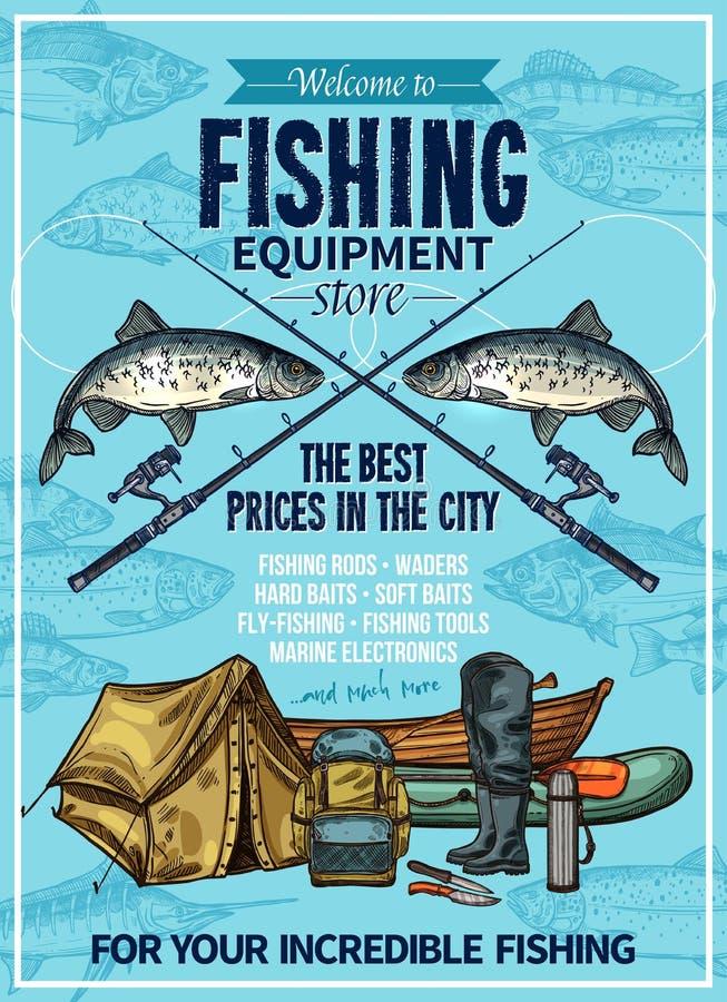 Manifesto di equipement di pesca sportiva del pescatore di vettore illustrazione vettoriale