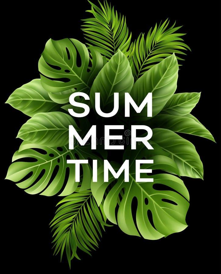 Manifesto di estate con foglia di palma tropicale Illustrazione di vettore illustrazione vettoriale