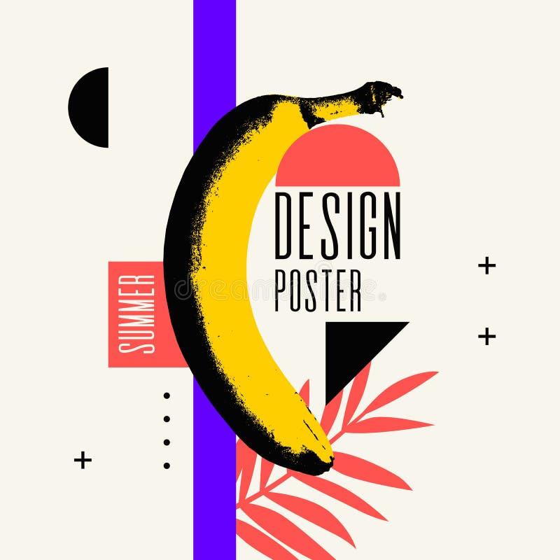 Manifesto di estate Manifesto luminoso con una banana su un fondo astratto illustrazione vettoriale