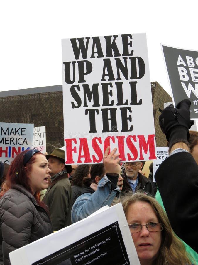 Manifesto di fascismo a marzo immagini stock