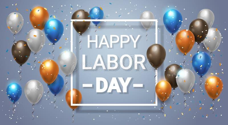 Manifesto di festa di festa del lavoro o fondo felice della decorazione con i palloni per la celebrazione royalty illustrazione gratis