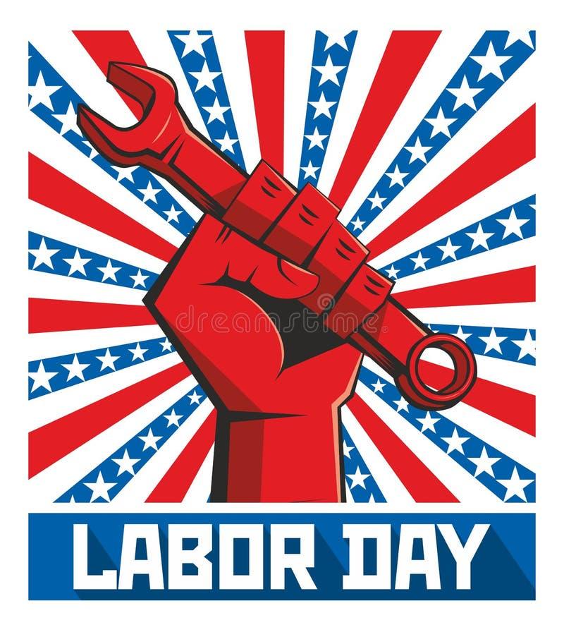Manifesto di festa del lavoro retro illustrazione vettoriale