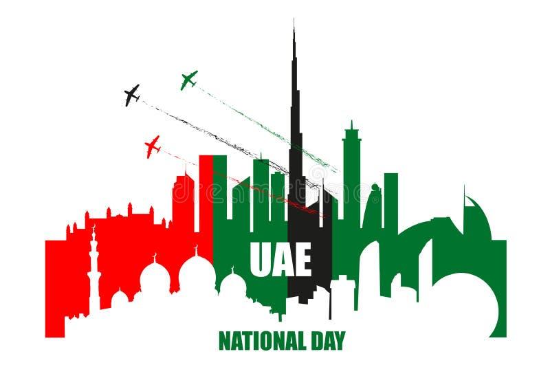 Manifesto di festa nazionale dei UAE con i punti di riferimento, siluette dei grattacieli royalty illustrazione gratis