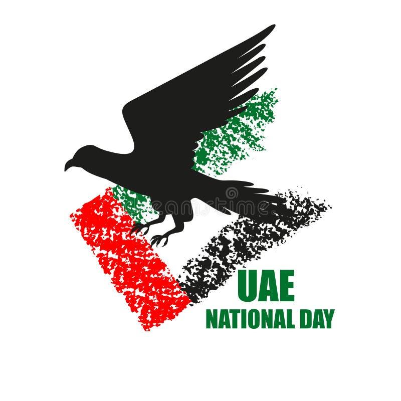 Manifesto di festa nazionale dei UAE con la siluetta e la bandiera del falco royalty illustrazione gratis
