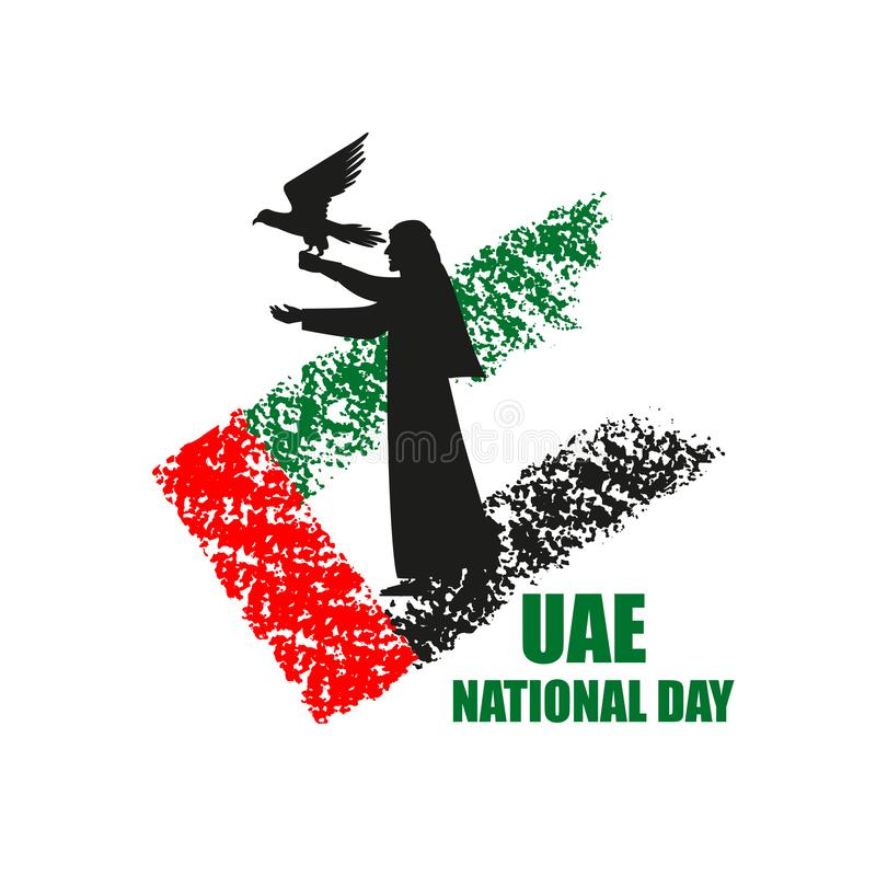 Manifesto di festa nazionale dei UAE con la siluetta e la bandiera del falconiere illustrazione vettoriale