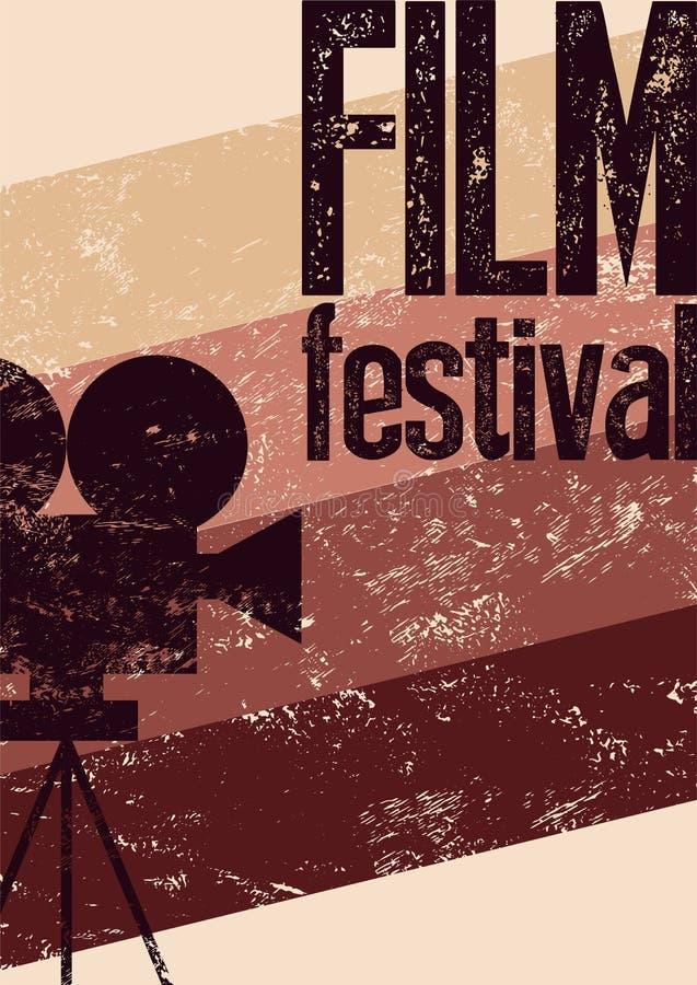 Manifesto di festival cinematografico Retro illustrazione tipografica di vettore di lerciume illustrazione di stock