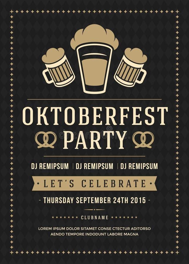 Manifesto di festival della birra di Oktoberfest o modello dell'aletta di filatoio royalty illustrazione gratis