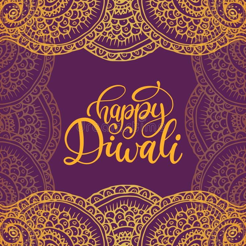 Manifesto di festival di Diwali con l'iscrizione della mano Vector l'illustrazione astratta del modello per la cartolina d'auguri illustrazione di stock