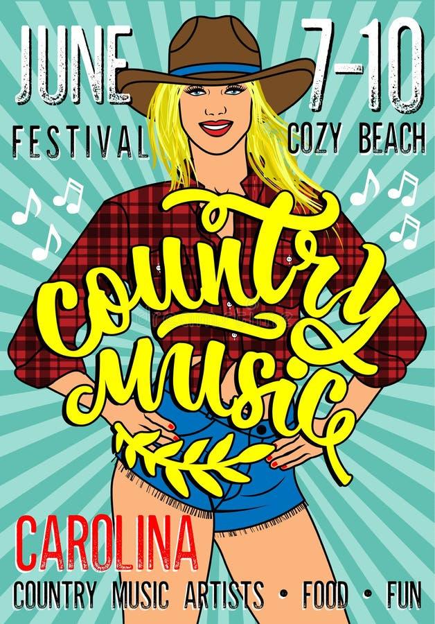 Manifesto di festival di musica country con la ragazza sexy del paese in breve Jean Shorts And Plaid Shirt royalty illustrazione gratis