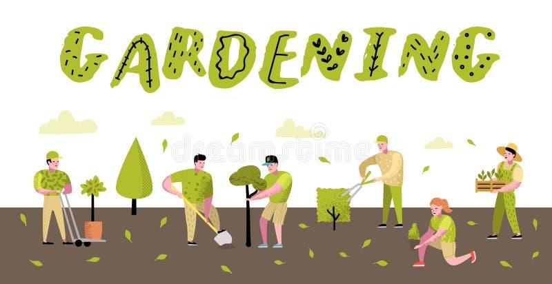 Manifesto di giardinaggio dei fumetti Caratteri semplici divertenti con le piante e gli alberi Giardiniere della donna e dell'uom illustrazione vettoriale