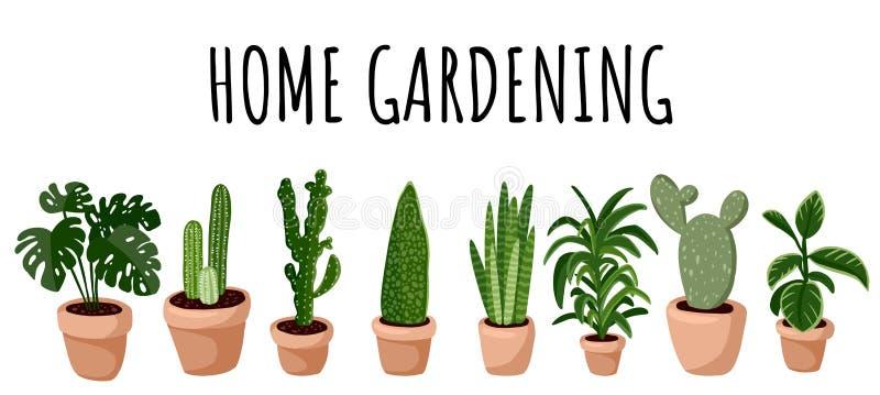 Manifesto di giardinaggio Set di piante succulente in vaso di iniezione Cozy lagom scandinavo collezioni di piante illustrazione di stock