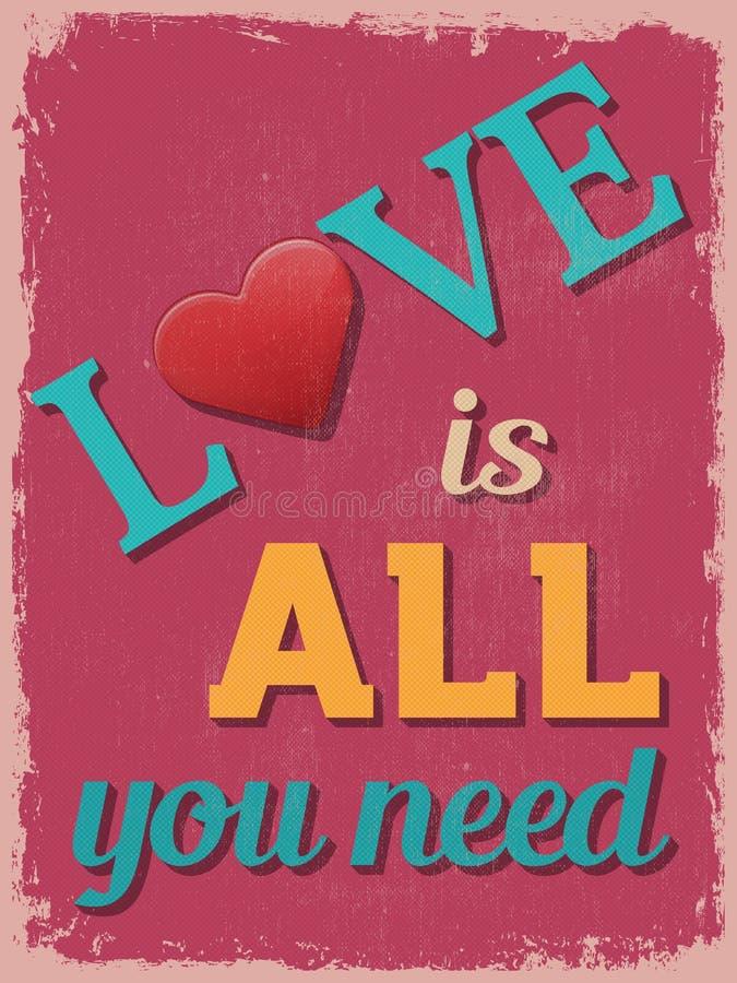 Manifesto di giorno del biglietto di S Retro disegno dell'annata L'amore è tutto voi Ne royalty illustrazione gratis