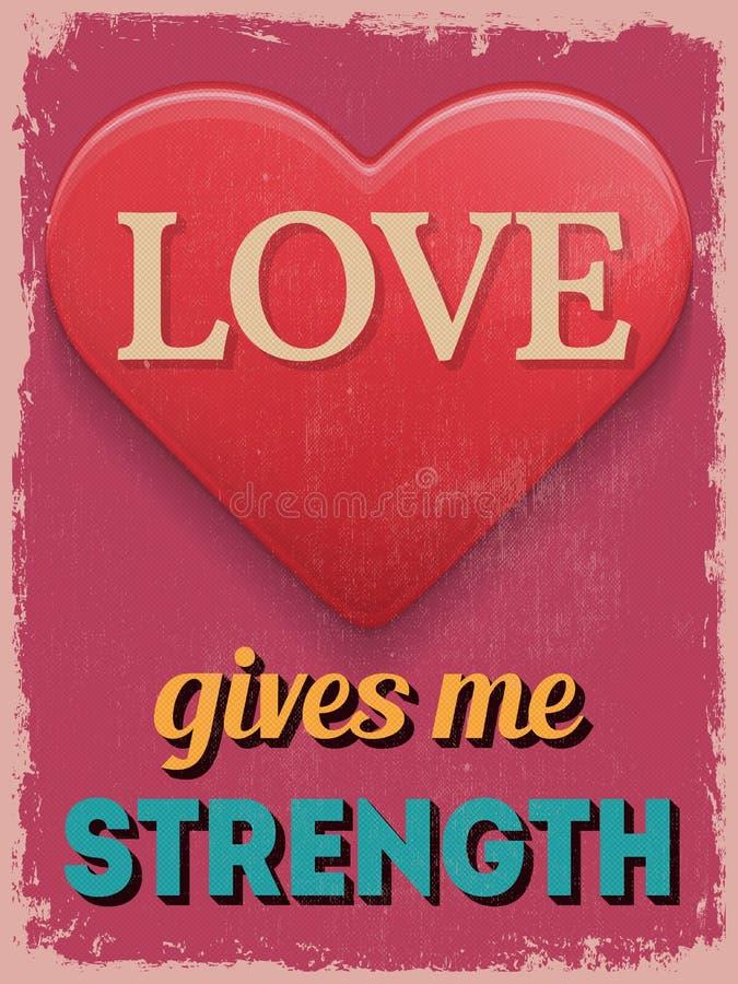Manifesto di giorno del biglietto di S Retro disegno dell'annata L'amore mi dà Stre illustrazione di stock