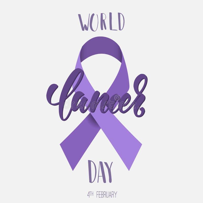 Manifesto di giorno del Cancro del mondo con l'iscrizione di calligrafia immagini stock