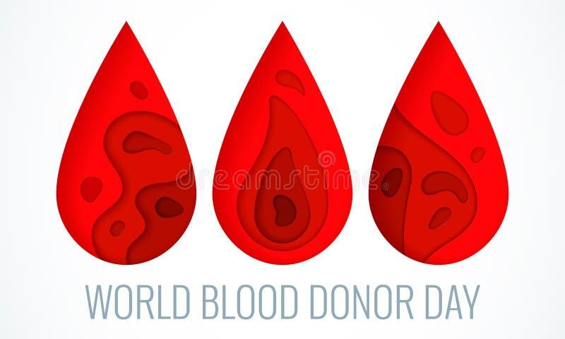 Manifesto di giorno del donatore di sangue del mondo illustrazione vettoriale